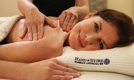 One-Hour Swedish Massage or Signature Facial at Hand & Stone Massage and Facial Spa (Up to 56% Off)