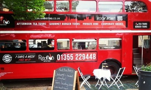 Red Bus Bistro: Vintage Bus Tour of Edinburgh or Glasgow with Gourmet Burger or Deli Board for Two with Red Bus Bistro (34% Off)