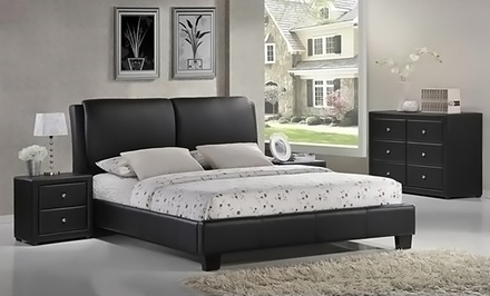 Modern Upholstered Platform Bed with Cushioned Headboard