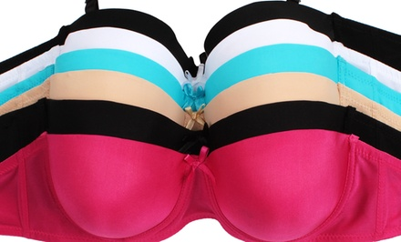 6-Pack of Padded Underwire Microfiber Bras in Assorted Colors