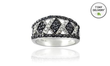 Black and White Diamond Ring. Free Returns.