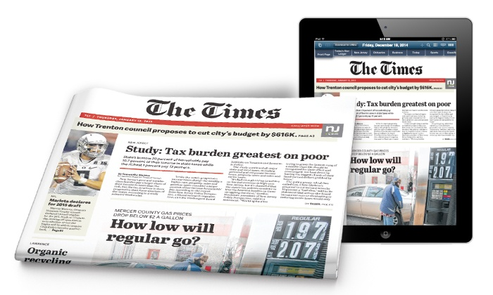 """Times of Trenton: 3- or 6-Month Subscription, Including Weekend Print and Digital Editions, to """"Times of Trenton"""" (Up to 47% Off)"""
