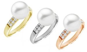 Anello con diamanti e perla