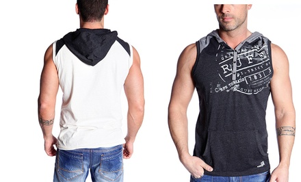 Rufen Men's Sleeveless Henley Hoodie with Print