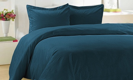 Essentially Home Living 3-Piece Embossed Microfiber Duvet Set