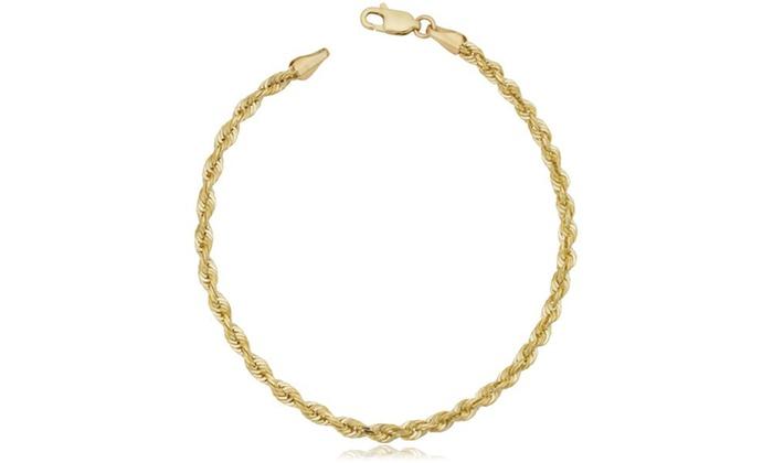 """8/"""" 10K White Gold Mens Womens Diamond Cut Rope Chain Bracelet 3MM 7/"""""""