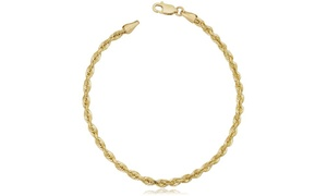 3MM Diamond-Cut Rope Chain Bracelet in 10K Solid Gold by Moricci