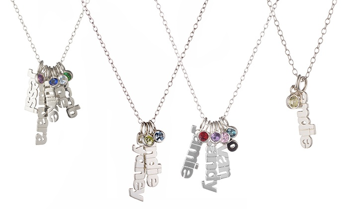 Luce Mia: Personalized Sterling Silver Necklace with Names and Birthstones from Luce Mia (Up to 74% Off)