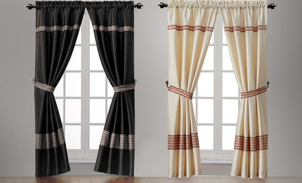 Rod-Pocket Curtain Panel Pairs with Tie Backs. Multiple Colors Available.