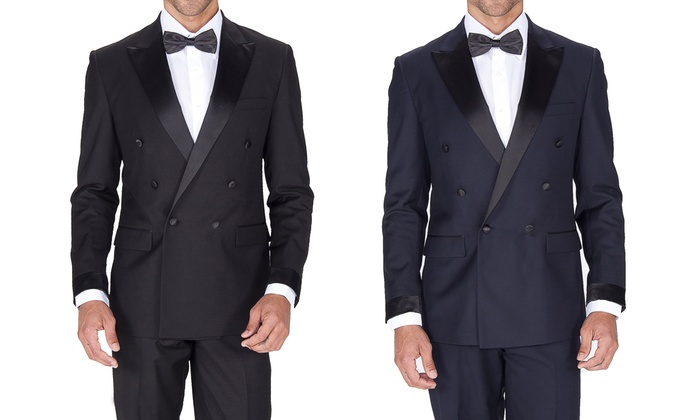 Braveman Slim Fit Double Breasted Tuxedos with Free Bow Tie (2-Piece)