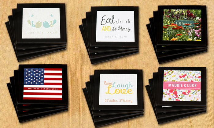 Simply Personalized: $17.99 for a Set of Four Personalized Glass Coasters from Simply Personalized ($29.99 Value)