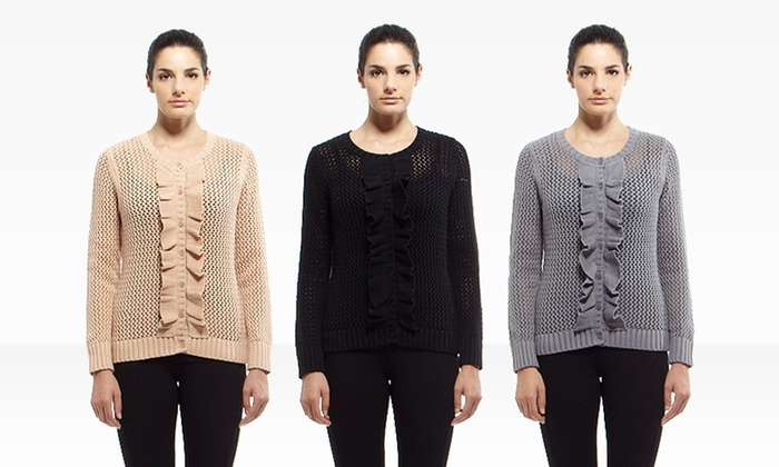 YAL New York Ruffled Crocheted Cardigans: YAL New York Ruffled Crocheted Cardigans in Beige, Black, or Gray. Free Shipping and Returns.
