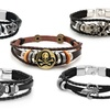 Men's Genuine Leather Bracelets with Metal Accents