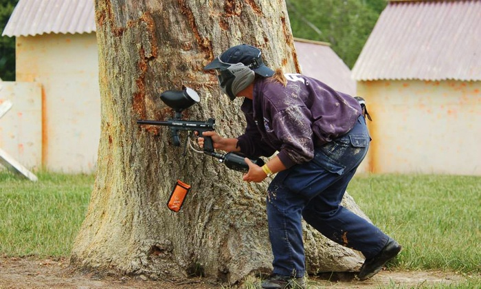 Pev's Paintball Park - Aldie: $59 for Day of Paintball for Three Including Gear Rental and 100 Paintballs Each ($311.40 Value)