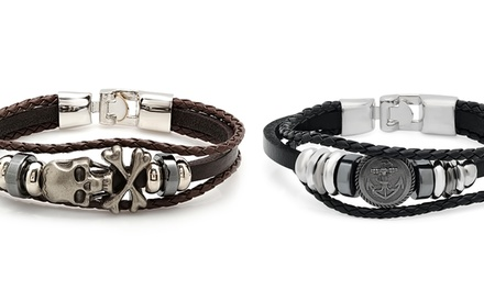 Men's Genuine-Leather Bracelets with Metal and Braided Accents