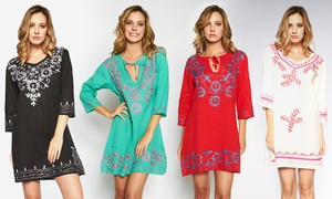 100% Cotton Embroidered Tunic Dresses