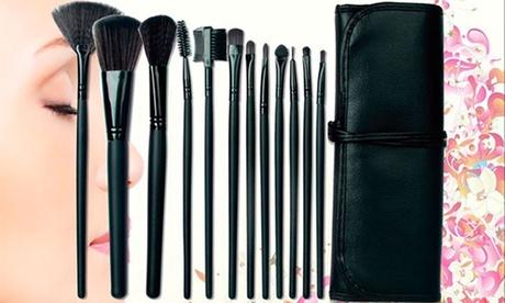 1, 2 o 3 sets de 12 brochas de maquillaje con estuche de piel sintética