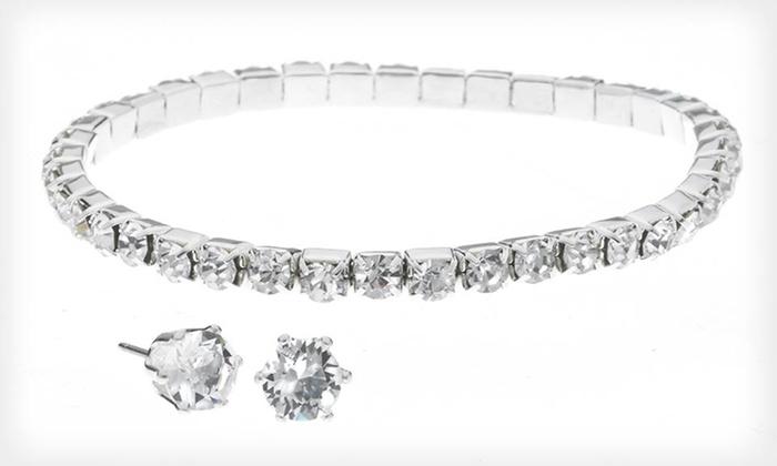 2-Piece Swarovski Elements Set : Swarovski Elements Crystal Bracelet and Stud Earring Set. Free Returns.