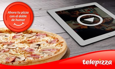 Telepizza: pizza mediana o familiar de masa fina con hasta 5 ingredientes y el humor de Comedy Central desde 5,95€