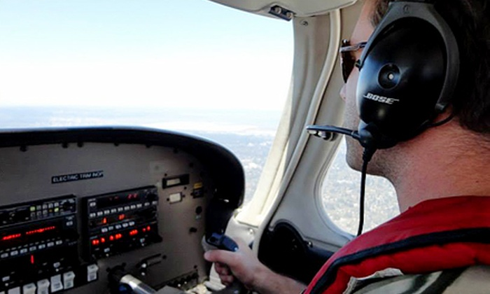 Fly Bay Area - San Carlos: Hands-On Intro Flight with Photo for One Pilot and Two Optional Guests, or Two Pilots from Fly Bay Area (Up to 41% Off)