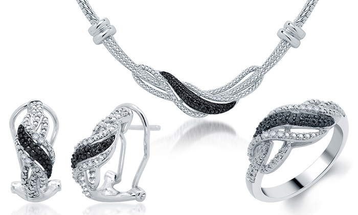 0.25 CTTW 3-Piece Diamond Jewelry Set: 0.25 CTTW 3-Piece Black and White Diamond Jewelry Set