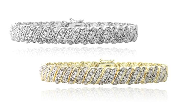 1 CTTW Diamond Tennis Bracelet in Gold or Silver Tone: 1 CTTW Diamond Tennis Bracelet in Gold or Silver Tone
