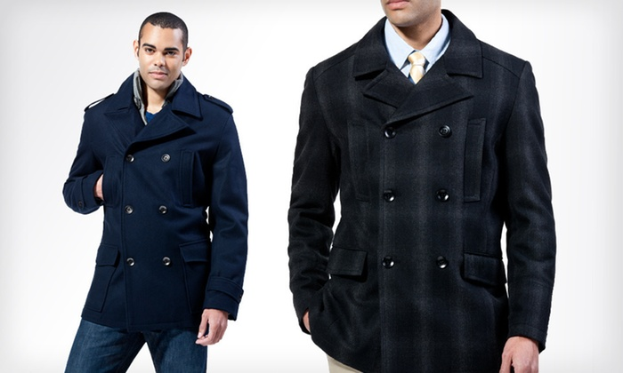 Men's Wool Pea Coat | Groupon Goods