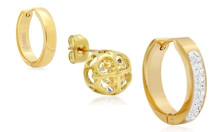 Hoop, Stud, or Huggie Earrings in 18K Gold Plated Stainless Steel