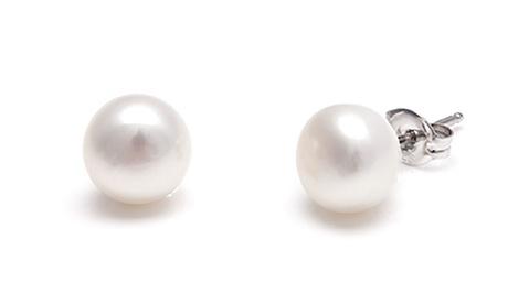 1, 2 o 3 pares de pendientes de perlas de agua dulce chapados en oro blanco