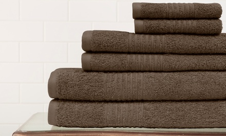 6-Piece 100% Egyptian Cotton Towel Set with Bath, Hand, and Wash Towels