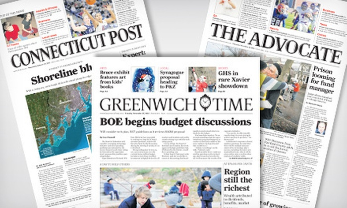 Connecticut Post, The Advocate, or Greenwich Time: Newspaper Subscriptions from Hearst Media Services of Connecticut (Up to 75% Off). Six Options Available.