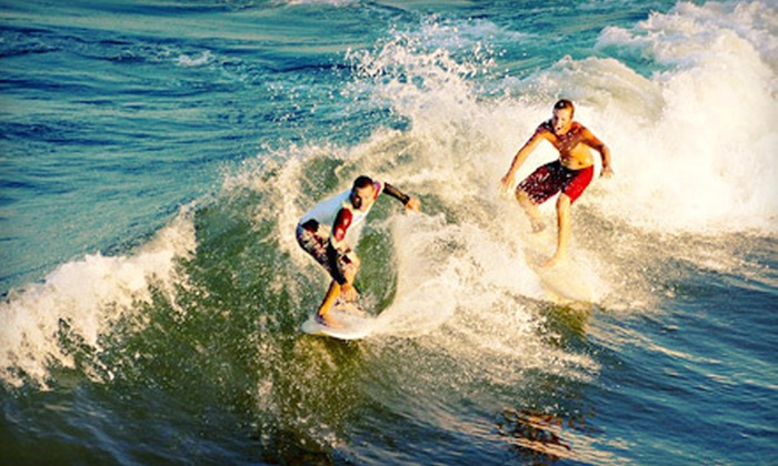 VB Surf Sessions, Inc - Owls Creek Boat Ramp: Two-Hour Group Surf Lesson or All-Day Surf Camp at VB Surf Sessions, Inc in Virginia Beach (Up to 54% Off)
