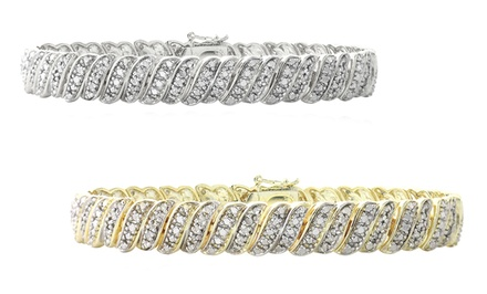 1 CTTW Diamond Wave Link Tennis Bracelet