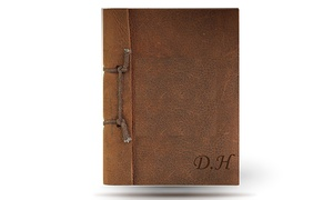 Monogram Hub: Antique Leather Brown Notebook