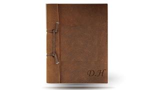 Monogram Hub: Antique Leather Brown Notebook