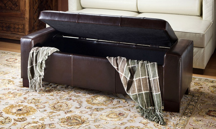Swell 98 99 For A Great Deal Furniture Rothwell Brown Leather Storage Ottoman 209 List Price Free Returns Gamerscity Chair Design For Home Gamerscityorg