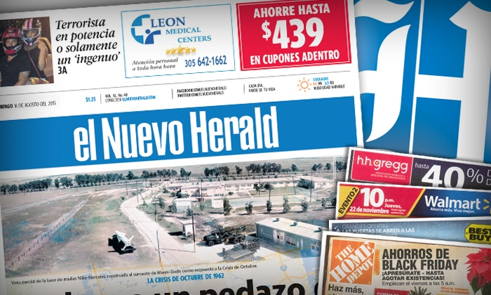"Miami Herald: $8 for a 12-Month Saturday and Sunday Subscription to ""El Nuevo Herald"" ($203.95 Value)"