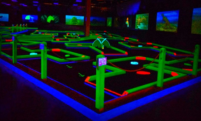 Lunar Mini Golf - Multiple Locations: Mini Golf with Glow-in-the-Dark Necklaces for Four at Lunar Mini Golf (50% Off)