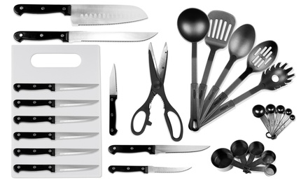 29-Piece Kitchen Utensil and Knife Set with Wooden Knife Block