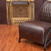 Jay Quilted Brown Leather Slipper Chair