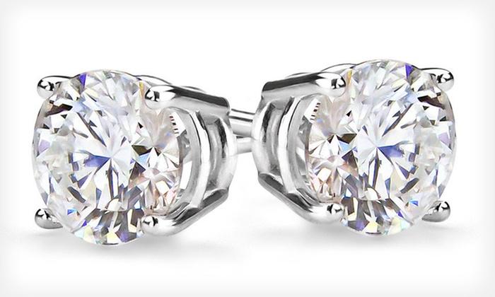 Certified 14-Karat Diamond Stud Earrings: 1/3- or 1-Carat Round Diamond Stud Earrings (Up to 63% Off). Free Shipping and Free Returns.