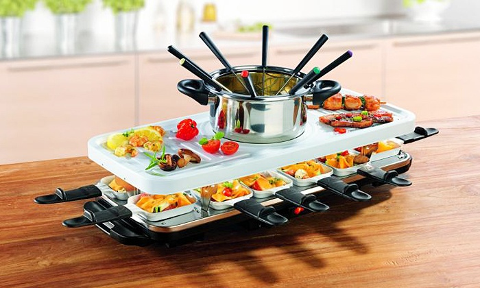gourmetmaxx raclette fondue set groupon. Black Bedroom Furniture Sets. Home Design Ideas