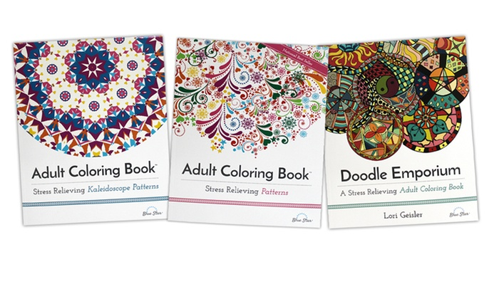 Blue Star Coloring Adult Books Patterns Collection