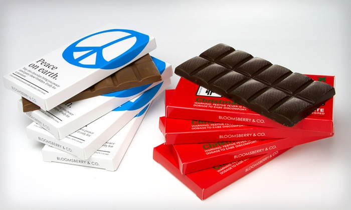 Bloomsberry & Co. Holiday Chocolate Bars: $29 for a 10-Pack of All-Natural Bloomsberry & Co. Holiday Chocolate Bars ($50 List Price). Free Shipping.