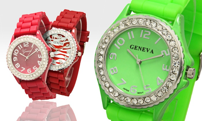 Geneva Crystal-Embellished Watches: $7.99 for a Geneva Women's Crystal-Embellished Watch ($19.99 List Price). 13 Options Available. Free Returns.
