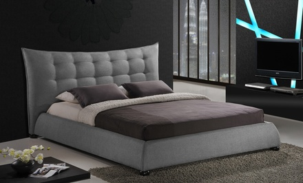 Queen or King Gray Linen Platform Bed with Tufted Headboard from $459.99–$499.99