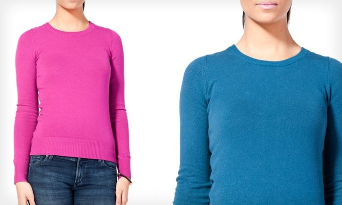 Sweet Romeo Crew-Neck Sweaters: $9.99 for a Sweet Romeo Crew-Neck Sweater ($68 List Price). Multiple Colors Available. Free Returns.
