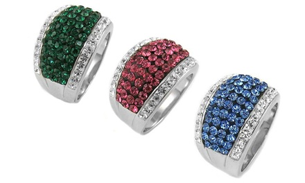 Genuine Austrian Crystal Rings in 18K White Gold Plated Brass