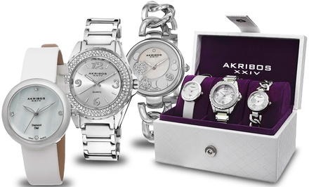 Akribos XXIV Women's Three-Piece Watch Gift Set with Swiss Quartz and Genuine Diamonds