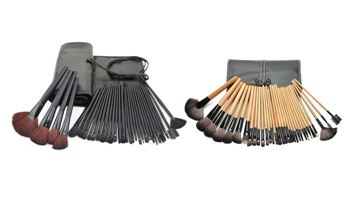 Bliss & Grace 32-Piece Makeup-Brush Set with Vegan-Leather Travel Bag